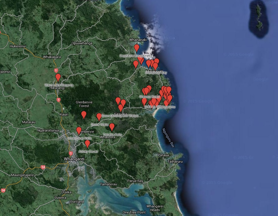 Riverbank Map of activities for the Tutukaka Coast.
